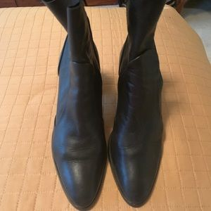 Black leather sock booties